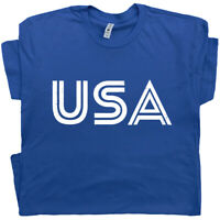 USA Letters T Shirt Vintage American Flag Patriotic 80s Soccer Patriotic  Tee