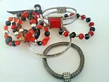 Job Lot of 5 X Red/Black and Silver Bangles and Bracelets