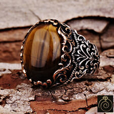 Men Tiger Eye Brown Gemstone Promise Ring Unique Engrave Silver Medieval Jewelry