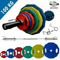 Olympic Polygonal Weights Set 100kg │ 5FT Barbell Bar Plates Collars by BodyRip