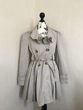 Miss Selfridge Petite Cream Frill Mac trench coat full skirt Size 6