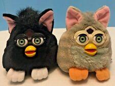 Lot of 2 Vintage 1999 Tiger Furby Buddies Black & Gray Plush Bean Bag Animal Toy