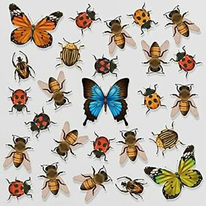 26 Beautiful Butterfly Bees Ladybirds and Beetles Static Cling Window Stickers -