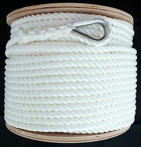 12mm x 100M Nylon Anchor Rope, 3 Strand White Great for Windlass Super Strong