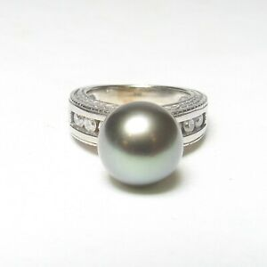 Estate 14K White Gold 10.5 mm Peacock Black Tahitian Pearl And Diamond Ring