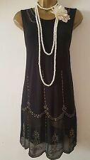 NEXT 20'S STYLE GATSBY FLAPPER CHARLESTON DECO SEQUIN/BEAD DRESS SIZE UK 12