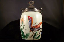Victorian English Bristol Opaque Hand Painted Cracker Jar Dragonfly Motif