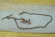 ANTIQUE VICTORIAN GOLD PLATED SOB&Co WATCH CHAIN WITH BEAUTIFUL 3 DIMENSION FOB