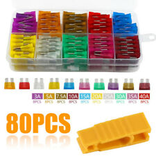 80pcs 12V Standard Blade Car Fuses Fuse 3A~40A Assorted Set + Puller