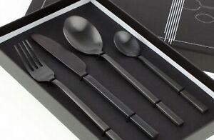 Gedeckter Tisch Besteck 4tlg. Set Edelstahl Matt Schwarz Neu Black Cutlery Küche