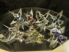 SWAROVSKI CRYSTAL ELEMENTS STUDDED HUMMINGBIRD MAGNET SET Of 7 Pcs SILVER PLATED
