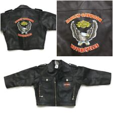 Harley Davidson Embroidery Logo Faux Leather Motorcycle Biker Jacket Baby 3T