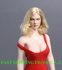 1/6 American European Female Head Blonde Short Hair For Phicen �Usa In Stock�