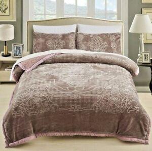 King Size Wood Rose Premium Flannel Sherpa Mink Blanket Set 3 Piece New