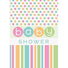 BABY SHOWER Pastel Polka Dots and Stripes INVITATIONS (8) ~ Party Supplies Cards