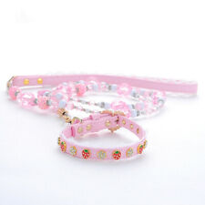 Pet Dog Cat Leash and Collar Set Adjustable Strawberry Necklace Pink Neck Strap
