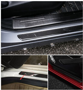 2*(48+25)CM Real Carbon Fiber Front Rear Car Scuff Plate Door Sill Cover Protect