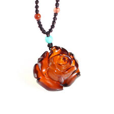 Natural Baltic Poland Blood Red Amber Carving Rose Pendant With Certificate
