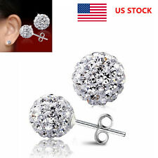 Lady Earrings Shambhala Ball Earrings Crystal Rhinestone Disco Nail Studs Plate