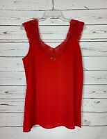 UMGEE USA Boutique Women's M Medium Red Lace Sleeveless Summer Top Blouse Tank