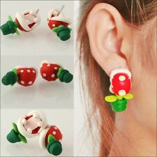 1 Pair Handcraft Polymer Clay Super Mario Piranha Plant Corpse Flower Studs
