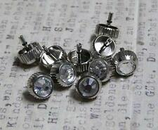 Steampunk Watch Parts Watch Crowns Silver 7MM with Rhinestone Clear 10PC