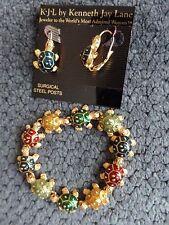 """KJL Kenneth Jay Lane Turtle Bracelet  7""""  Multi-Colored Ane Blue Turtle Earrings"""