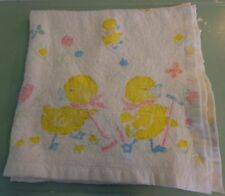 """Vtg Baby Security Blanket Yellow Duck White Satin Trim Lovey USA Made 41"""" x 41"""""""