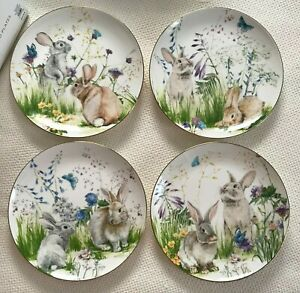 """Set of 4 Williams Sonoma FLORAL MEADOW Bunny Salad Plates 9"""" New *"""
