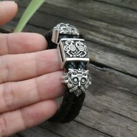 viking slavic Cowhide bracelet men Black Braided Leather Cuff Bangles bracelet