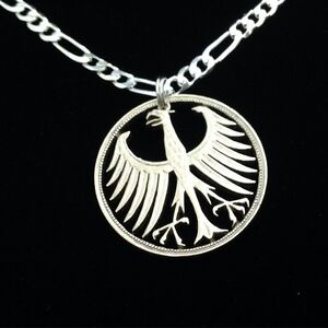 Silver Cut Coin Five Mark Eagle Men Pendant Jewelry Necklace