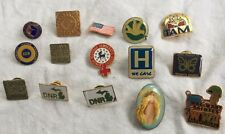 15 Lapel Pin Lot UAW, Michigan DNR, Democratic Caucus, WWII Walmart, St Employee