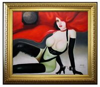 Framed Sexy Model Female, Quality Hand Painted Oil Painting, 20x24in