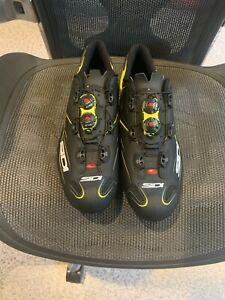 Sidi Mens Cycling Shoes. Shot Carbon Flo Yellow/Matte Balcke Size 46.5 Brand New