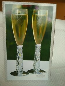 "Silver Plated Vine Hearts Toasting Flutes Frosted Stem Glasses 10"" Tall"