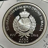 2000 MALTA SILVER 500 LIRA ZEUS PROOF BRILLIANT UNCIRCULATED  CROWN