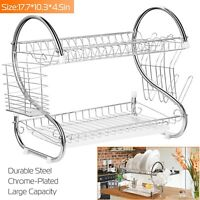2 Tiers Dish Cup Drying Rack Holder Organizer Drainer Dryer Tray Kitchen Storage