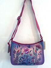 NEW Anuschka Hand-Painted Leather ZipTop Hobo,Shoulder Bag,Turkish Pottery