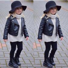 New Kids Girl Fashion Motorcycle PU Leather Jacket Biker Overcoat Toddler Coat