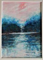 Original oil and acrylic framed painting by Nalan Laluk: Glacial Lake