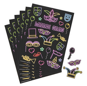 Pack of 12 - Mardi Gras Sticker Sheets -  Party Bag Fillers