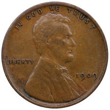 1909 VDB Lincoln Wheat Cent Very Fine Penny VF