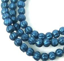 50 Czech Glass Melon Round Beads 5mm - Metallic Suede - Blue