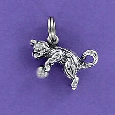 Cat Playing with Ball Charm Sterling Silver for Bracelet Kitty Kitten Pet Yarn