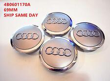 4 Pcs, Audi, GREY, Chrome Logo Center, Wheel Hub Cap, 70mm, A3, A4, A5, A6, S4