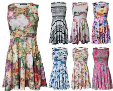 NEW WOMENS LADIES FLORAL SKATER SWING DRESS PRINTED PLUS SIZE SUMMER TOP 8-26
