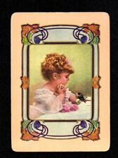 Vintage WIDE Swap/Playing Card - Pretty Girl with Bird (LINEN)