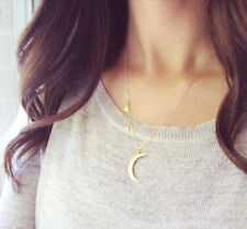 Star and Moon and Star Pendant Minimalist Necklace Choker Jewelry Gold