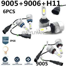 6PCS 9006+9005+H11 LED Headlight 24000LM  White Beam Combo Kit 6000K Fog Light