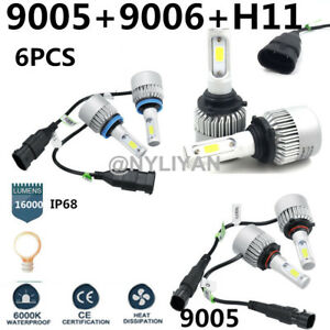 6PCS 9006+9005+H11 LED Headlight 24000LM  White Beam Combo Kit 6000K Fog Light